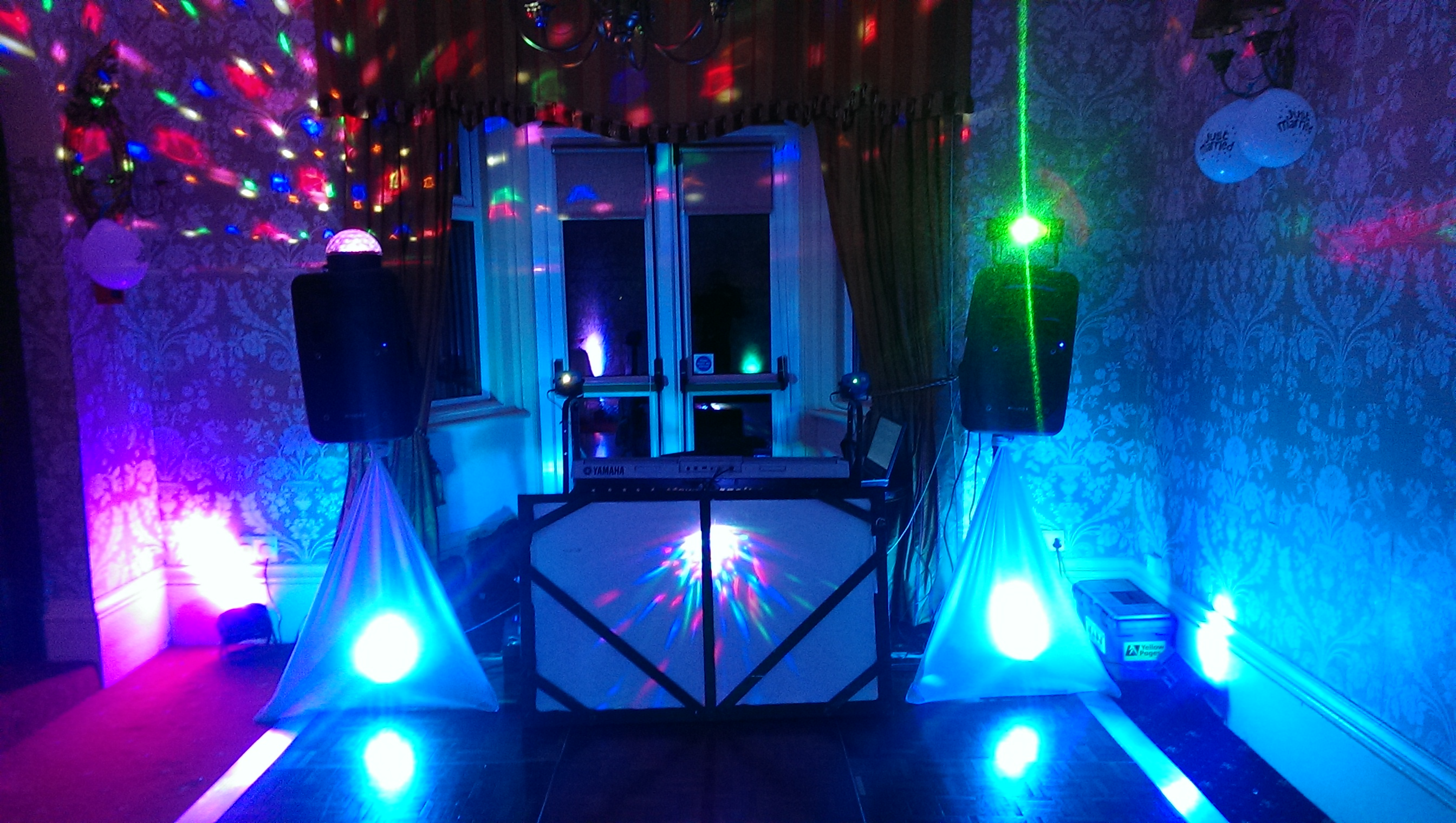 disco and keyboard set up front view