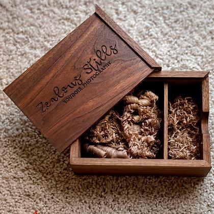 Custom Engraved  Walnut Keepsake + Photo Box