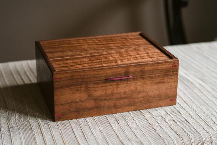 Handmade Walnut Photo Box Keepsake Box