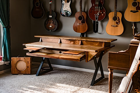 Hardwood Music Production Desk Audio Video Producer Office Decor Music Custom Furniture handmade Walnut