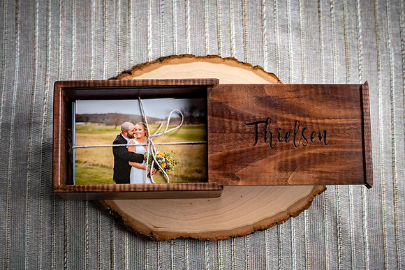 Custom Engraved Curly Walnut Keepsake + Photo Box w/ Splines