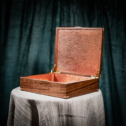 Medium Hinged Custom Engraved Walnut Keepsake + Photo Box with Hammered Copper