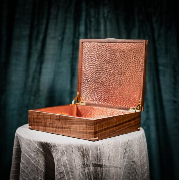 Handmade Walnut Photo Box Hammered Copper Lining
