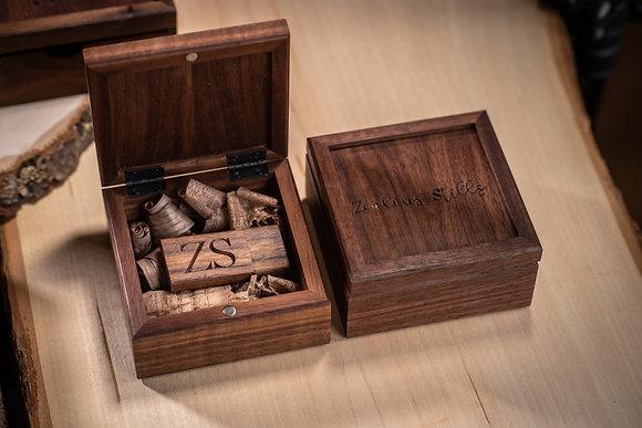 Small Hinged Custom Engraved  Walnut Keepsake Box