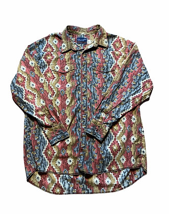 Vintage Wrangler Aztec Print Long Tail Button Up