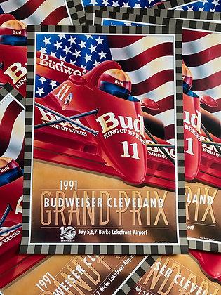 Vintage 1991 Grand Prix Cleveland Budweiser Poster