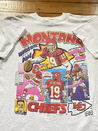 Vintage 1993 Salem Joe Montana Chiefs Comic T-Shirt