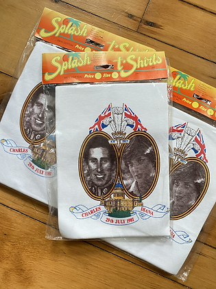 Vintage New 1981 Diana and Charles Royal Wedding T-Shirt in Original Packaging