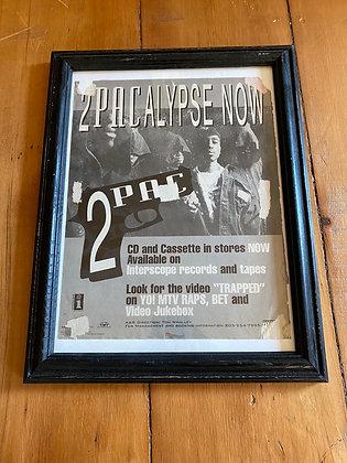 Framed Vintage 1991 2Pac '2Pacalypse Snow' Framed Print Ad