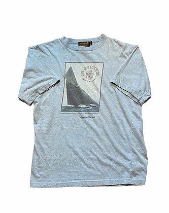 Vintage Eddie Bauer Baby Blue Yacht Racing Short Sleeve T-Shirt