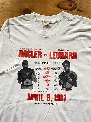 Vintage 1987 Joe Hand Fights Sugar Ray Leonard vs Marvin Hagler Boxing T-Shirt