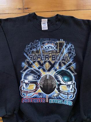 2005 Eagles vs Patriots Super Bowl Crewneck Sweatshirt