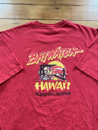 Vintage 1989 Baywatch Hawaii Film Crew on Location T-Shirt Promo