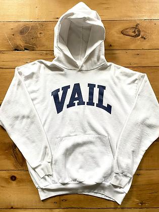 Vintage 90's Vail Colorado White / Navy Blue Hoodie Sweatshirt