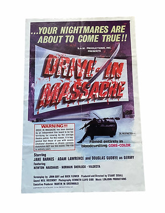 Vintage 1976 Original 'Drive in Massacre'  Horror Movie Promo Poster