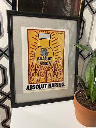 Vintage 1986 Keith Haring x Absolute Vodka Framed Print Ad