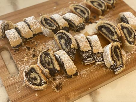 עוגיות מגולגלות במילוי פרג, פקאן ומייפל