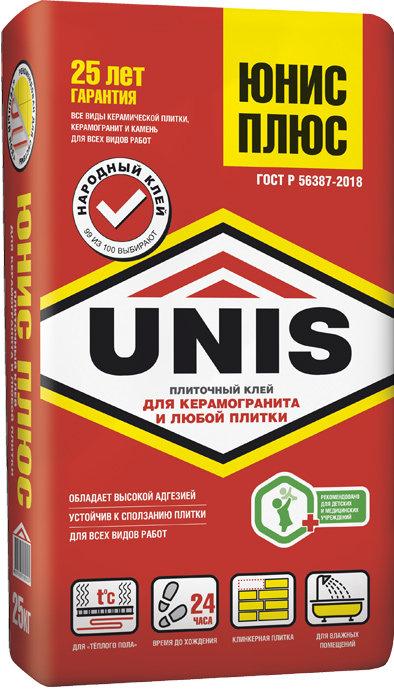 Плиточный клей повышенной прочности UNIS PLUS