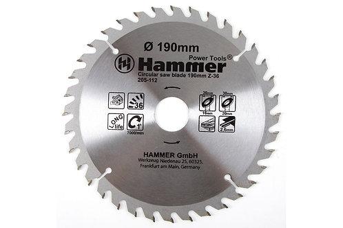 Диск пильный твердосплавный HAMMER Ф190х30мм 36зуб, 11604297