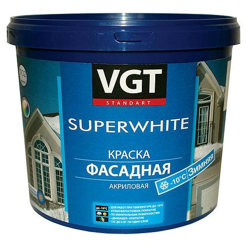 Краска VGT ВД-АК-1180 фасадная «зимняя» супербелая, 15 кг 11605416