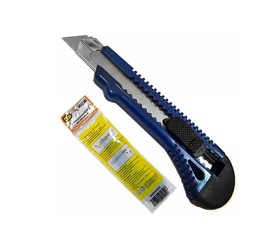 Нож выдвижной 888, ручная фиксация лезвия с металлической ведомой, 18 мм