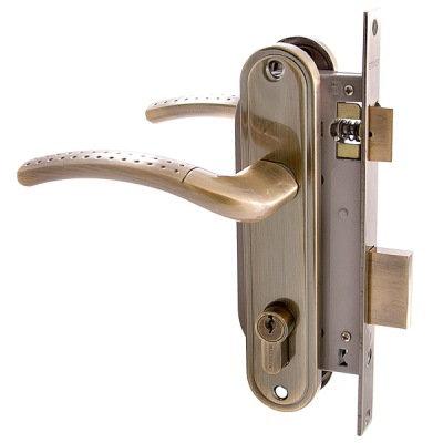 Замок врезной АЛЛЮР 132/1 АВ  (старая бронза) с ручками, 4 ключа,  11604859