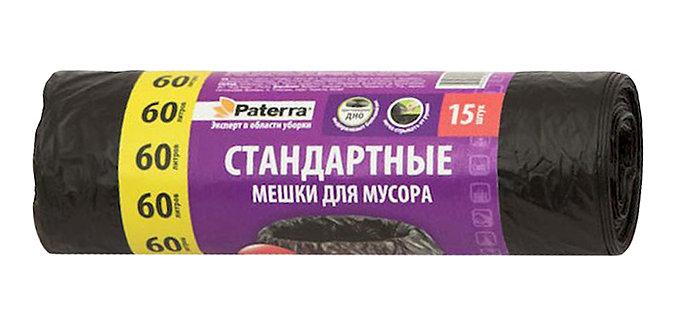 Мешки для мусора PATERRA  60л, 10мкм, 15 шт в рулоне, 11597774