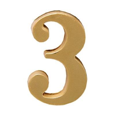 Цифра дверная АЛЛЮР 3 на клеевой основе (золото), 11599738