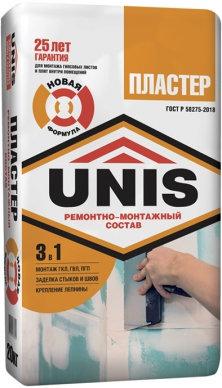 Шпатлёвка-клей  UNIS Пластер для монтажа ГКЛ, 20 кг