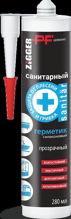 Герметик силиконовый санитарный ZIGGER  PF, прозрачный 280 мл, 11597375