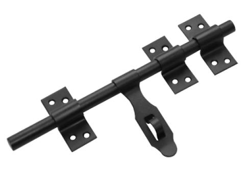 Засов универсальный ЗУ-250 с накладкой черный (Балаково) DOMART,   11593801