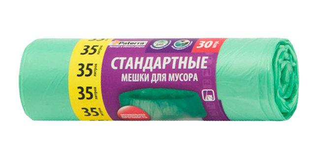 Мешки для мусора PATERRA 35л 8мкм зелёные 30шт в рулоне, 11597892