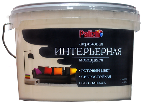 Краска PALIZH акриловая интерьерная моющаяся №311 шафран 3,7 кг 11605602
