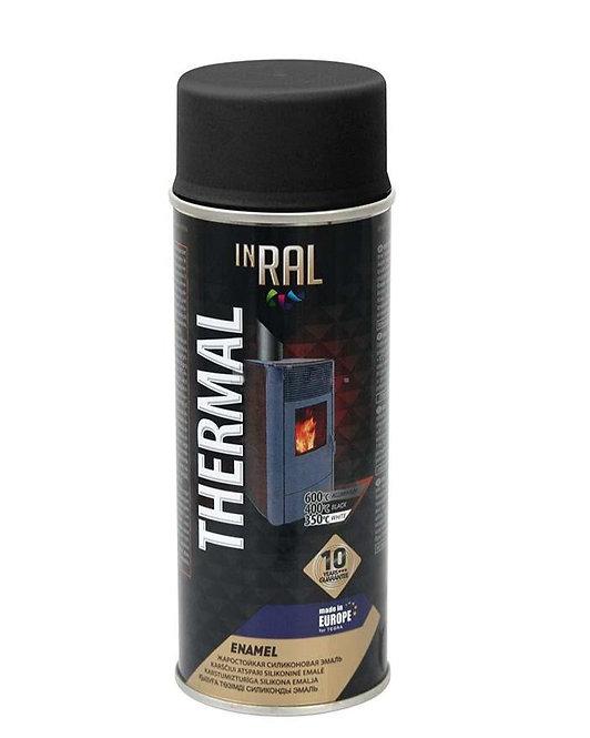 Аэрозольная краска жаростойкая INRAL THERMAL RAL 9011. + 400 С, черная 400 мл