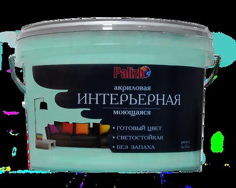 Краска PALIZH акриловая интерьерная моющаяся №307 мята,  3,7 кг, 11605598