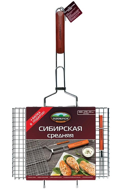 Решетка-гриль СИБИРСКАЯ средняя с вилкой ПИКНИЧОК 11597813