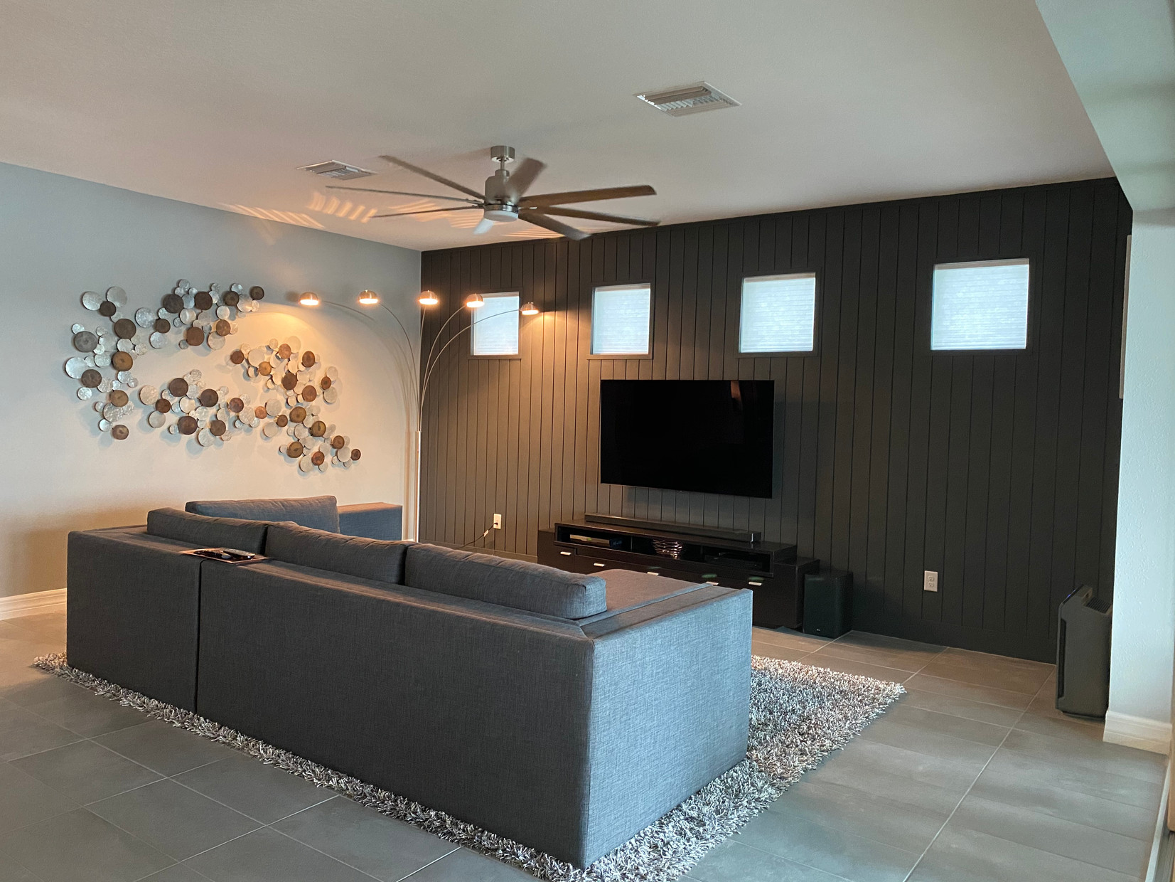 Modern + Minimalist Living Room Personalized with Custom Metal Wall Collage + Veritical Shiplap Wall