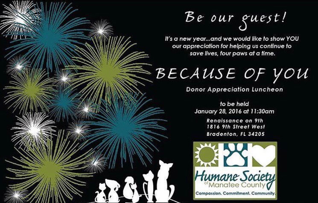 Because of You - Invitation Design for the Humane Society of Manatee County