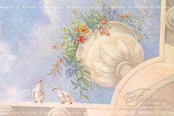 Фрагмент росписи потолка_голуби_вазон с цветами