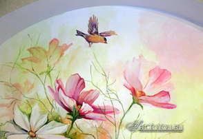 Роспись стен в комнате у бабушки