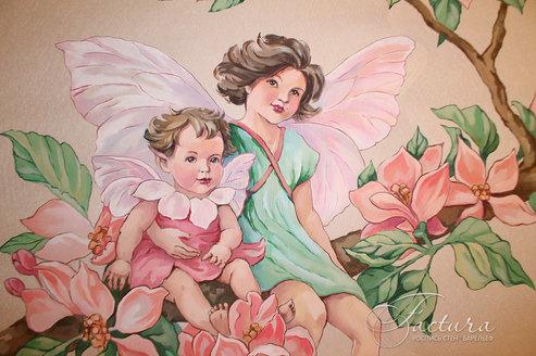 Роспись стен в детской девочки