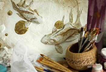 """объемное панно """"Золотые рыбки"""""""