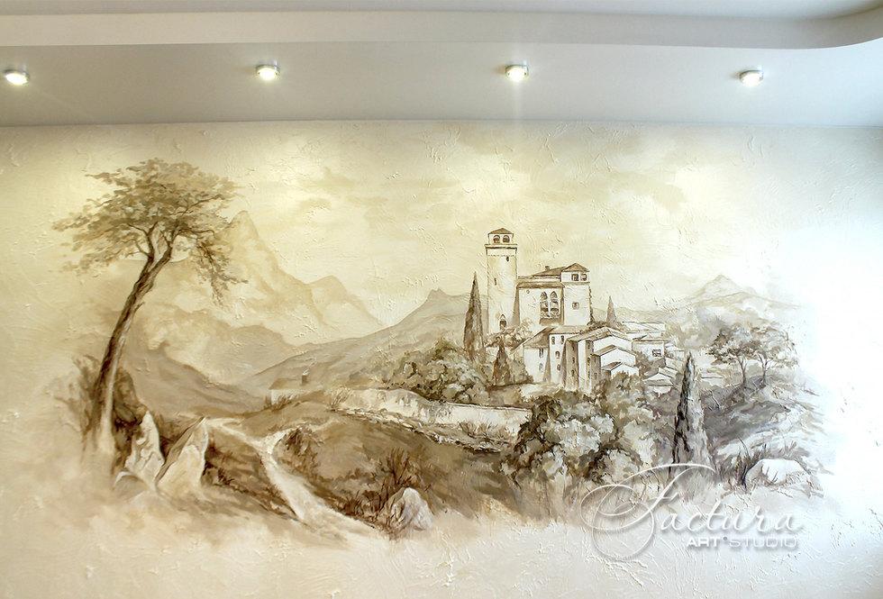 Роспись стен в гостиной