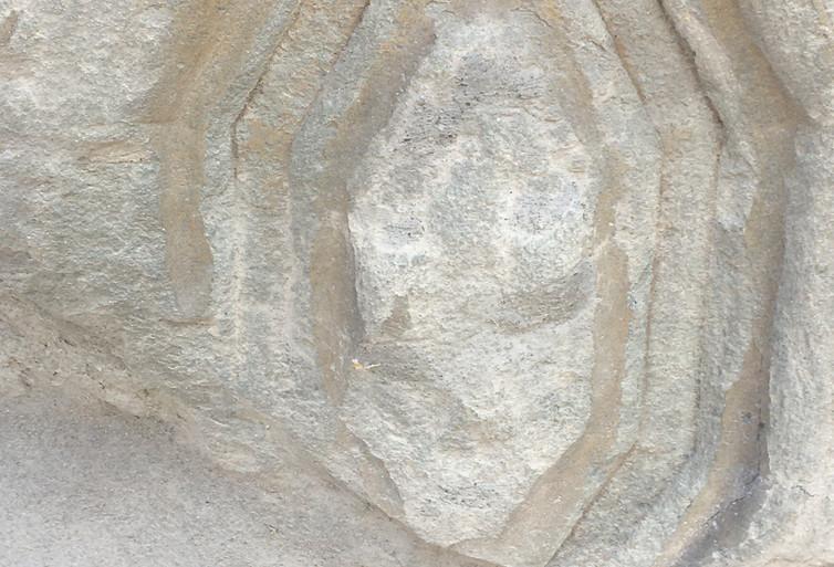 Decorazione con i segni dell'usura tipici dell'arenaria - Colleggiata.JPG