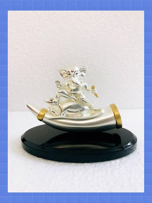 999 Silver Plated Antique Matt Finish Ganesh Ji on Mouse on Wooden Base