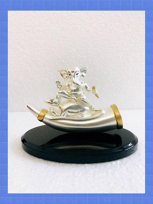 999 Silver Plated Antique Matt Finish Ganesh Ji on Mouse on Wooden Base
