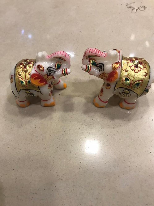 Marble Pair of elephants with beautiful handwork and paint