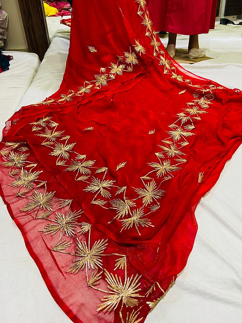 pure chiffon dimand saree all over gota work have  border