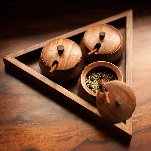 Sheesham wood tray with covered bowls