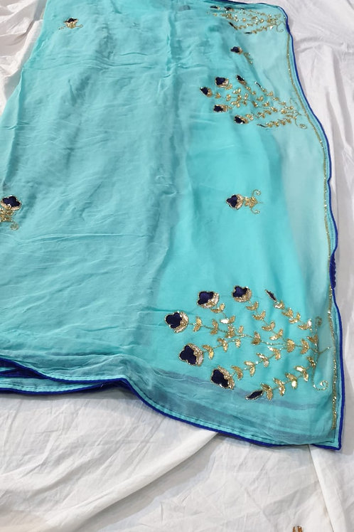 pure Georgette satan check saree with handwork Border
